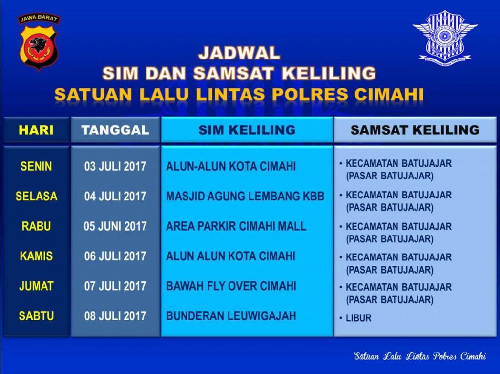 Jadwal SAMSAT Keliling Cimahi Agustus 2019