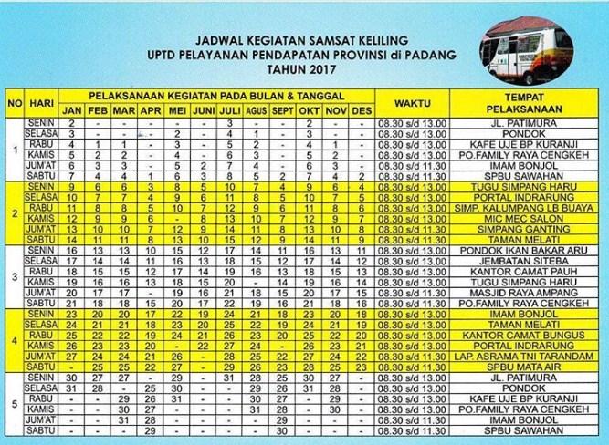 Jadwal SAMSAT Keliling Padang Agustus 2020