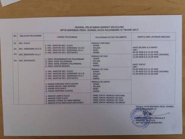 Jadwal SAMSAT Keliling Kota Palembang 2017