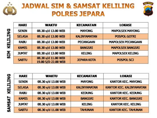 Jadwal SAMSAT Keliling Jepara November 2019