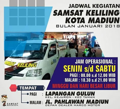 Jadwal SAMSAT Keliling Madiun Juni 2018