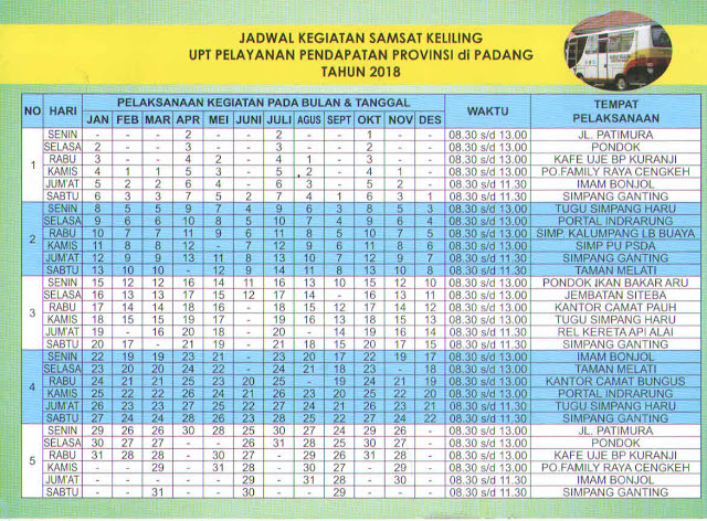 Jadwal SAMSAT Keliling Padang Maret 2020