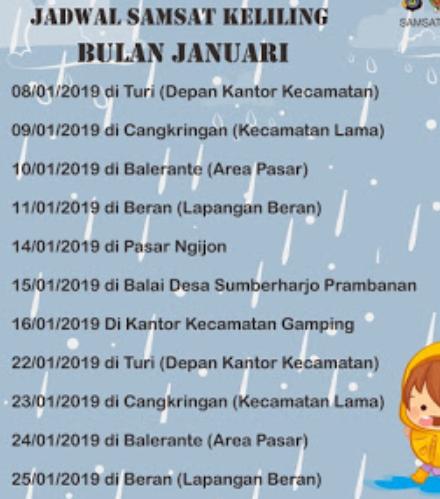 Jadwal SAMSAT Keliling Sleman Oktober 2019