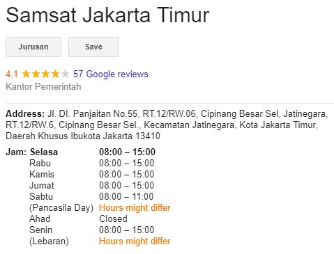 Jadwal SAMSAT Jakarta Timur