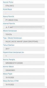 laporan hasil atas pencarian nama dari pemilik mobil