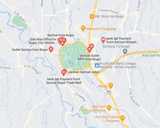 Map Lokasi samsat Keliling bogor Terbaru