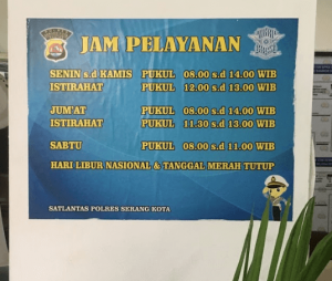 jam pelayanan samsat serang 2021