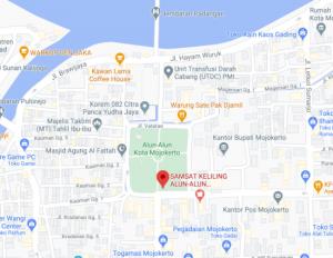 Map Lokasi SAMSAT Keliling Alun-alun Mojokerto Jawa Timur