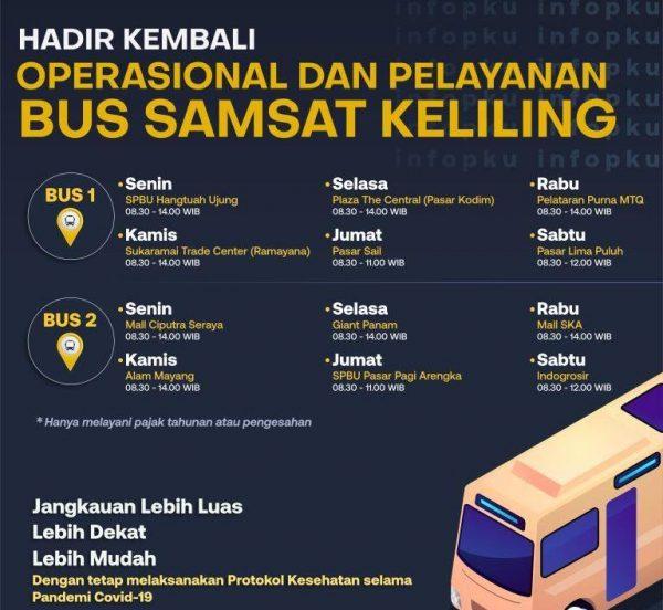 Jam operasional pelayanan bus SAMSAT Keliling