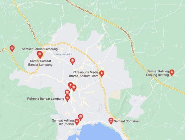 Lokasi Map SAMSAT Keliling Kota Lampung