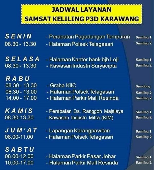 Jadwal layanan samsat keliling Karawang P3D