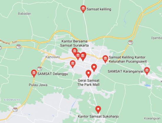 Lokasi Kantor Palayanan SAMSAT Corner di Kota Solo
