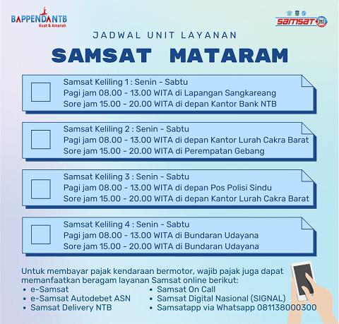 Lokasi dan Jadwal SAMSAT Keliling Mataram NTB