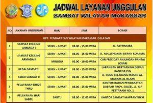 Jadwal Layanan Unggulan SAMSAT Wilayah Makassar