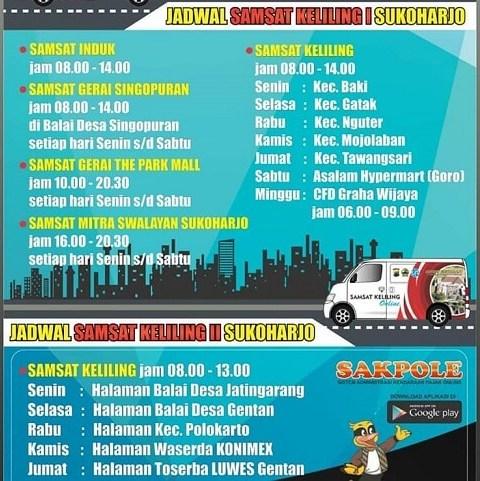 Jadwal SAMSAT Keliling Sukoharjo Hari ini